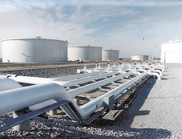 A file photo shows major oil storage terminals in Cushing. PHOTO PROVIDED