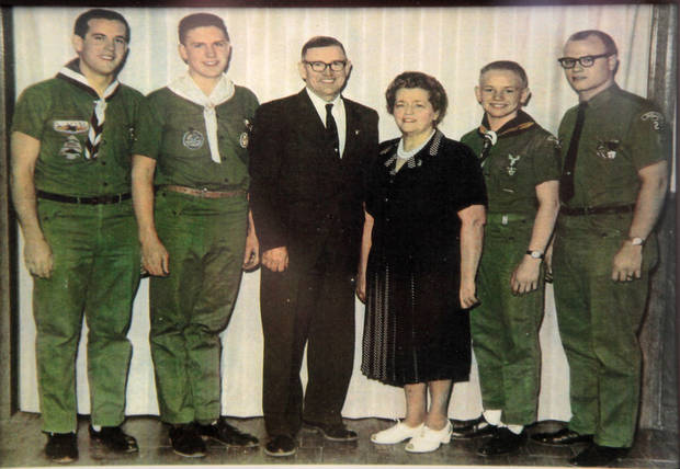 Copy photo of the Yocum's ,  Jack, Jim, John, parents John and Evelyn and Dr. Hal. Hal Yocum has a collection of Boy Scout uniforms that spans decades.  <strong>David McDaniel - The Oklahoman</strong>