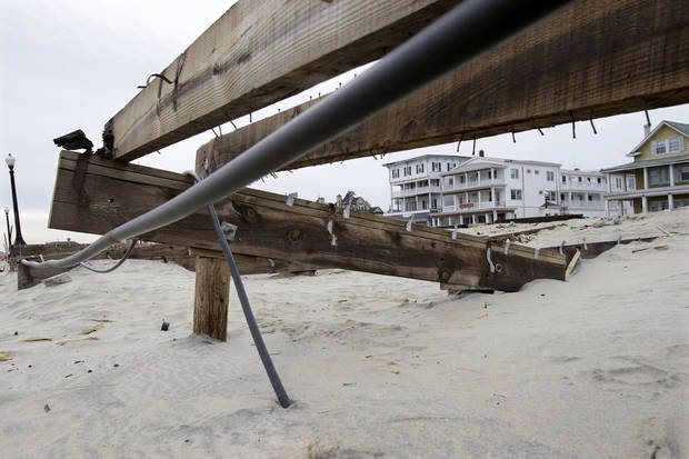 The remains of the boardwalk that was destroyed by Superstorm Sandy is seen Thursday, Feb. 7, 2013, in the Ocean Grove section of Neptune, N.J. Officials plan to appeal the Federal Emergency Management Agency's decision to reject a request for $1 million to repair the Ocean Grove boardwalk, which was destroyed by Superstorm Sandy. FEMA says the structure doesn't qualify because it is owned by the private, nonprofit Ocean Grove Camp Meeting Association. (AP Photo/Mel Evans)