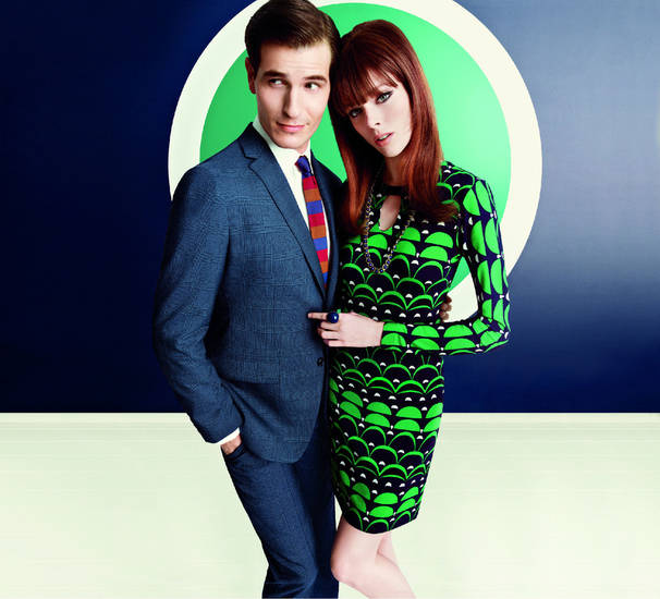 From Banana Republic's Mad Men spring 2013 collection, this promotional shot features some of the collection's mod, '60s style designs. Photo provided. <strong></strong>