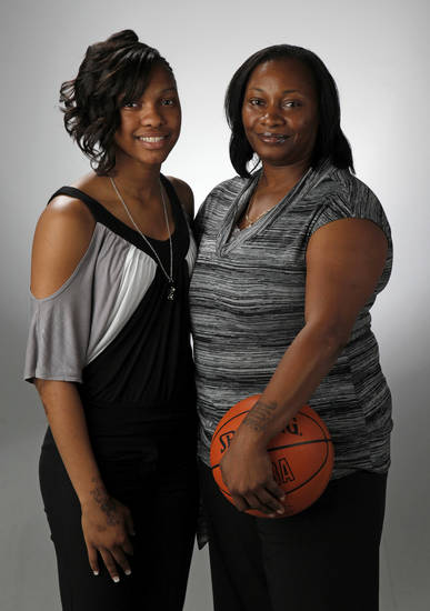 Te'era Williams of Douglass, The Oklahoman's Little All-City girls high school basketball player of the year, and her mother, Lenora Love, photographed at the OPUBCO studio in Oklahoma City, Thursday, March 29, 2012. Photo by Nate Billings, The Oklahoman