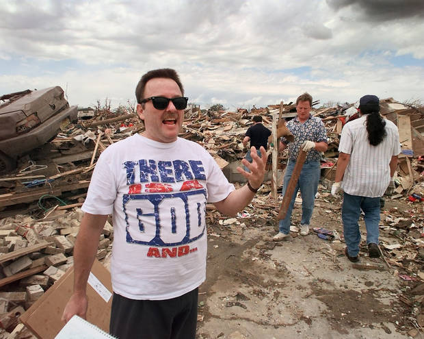 MAY 3, 1999 TORNADO: Tornado victims, damage: THERE IS A GOD...Keven Mayfield lost his home in Monday night's tornado in Moore. Goes with Baldwin story.