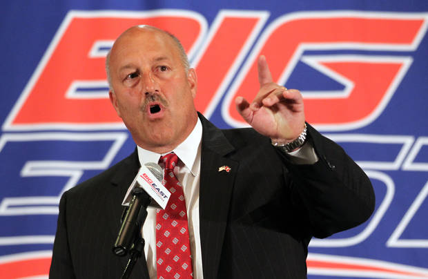 Temple head football coach Steve Addazio speaks with the media during the Big East Conference NCAA college football media day, Tuesday, July 31, 2012, Newport, R.I. (AP Photo/Stew Milne)