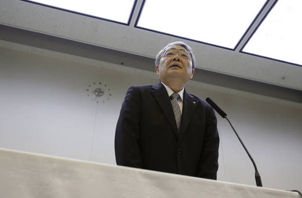 Tokyo Electric Power Co. President Toshio Nishizawa speaks during a news conference at the company's head office in Tokyo after a public bailout was approved, Wednesday, May 9, 2012. The government approved a 1 trillion yen ($12.5 billion) public bailout for the operator of Japan's tsunami-devastated Fukushima Dai-ichi nuclear power plant and put it under temporary state control. (AP Photo/Shizuo Kambayashi)