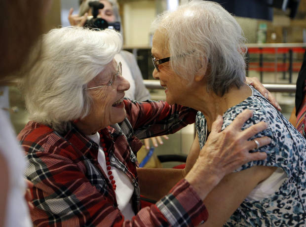 Sadie Fanali, left,  and Lorraine Thomas meet for the first time at Will Roger World Airport, Friday, June 14, 2013, in Oklahoma City.  The pair have been pen pals since 1932. Photo by Sarah Phipps, The Oklahoman