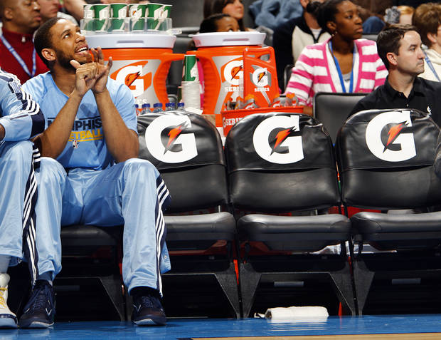 Memphis' Xavier Henry looks on from the bench during the NBA basketball game between the Oklahoma City Thunder and the Memphis Grizzlies at the Oklahoma City Arena on Tuesday, Feb. 8, 2011, Oklahoma City, Okla.