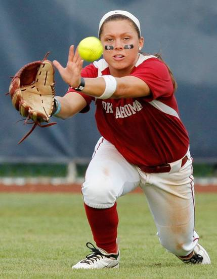 OU's Haley Nix (5) catches a fly ball in the fifth inning during a Women's College World Series softball game between the University of Oklahoma and Arizona State University at ASA Hall of Fame Stadium in Oklahoma City, Thursday, June 2, 2011. ASU won, 3-1. Photo by Nate Billings, The Oklahoman