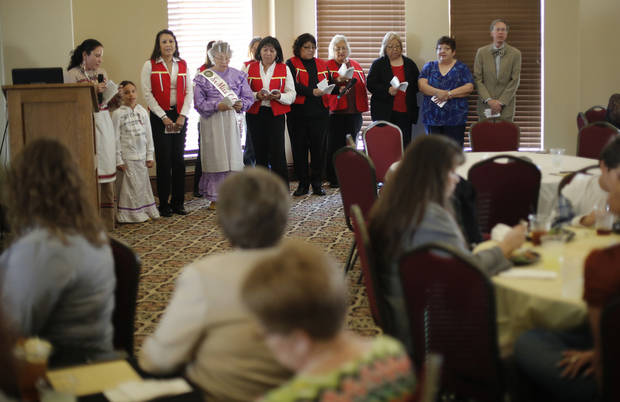 Members of the Oklahoma City Muscogee (Creek) Association sing during the Native American Heritage Celebration on Monday. Photo by Doug Hoke, The Oklahoman