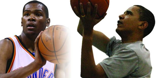 Thunder forward Kevin Durant, left, finally got his chance to play basketball with President Barack Obama, right. AP PHOTOS