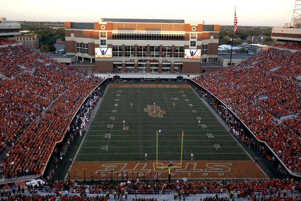 Boone Pickens Stadium is pictured during a college football game between the Oklahoma State University Cowboys (OSU) and the University of Arizona Wildcats at Boone Pickens Stadium in Stillwater, Okla., Thursday, Sept. 8, 2011. PHOTO BY SARAH PHIPPS, The Oklahoman