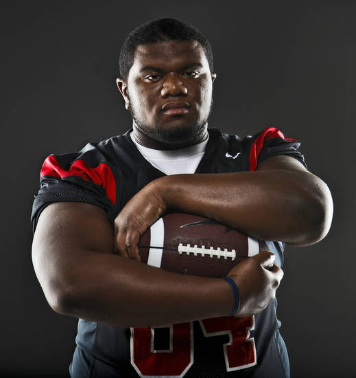Little All-City Defensive Player of the Year portrait of Luther defensive tackle Justin Wilson poses for a photo at the OPUBCO studio in Oklahoma City, Okla. on Tuesday, Dec. 20, 2011. Photo by Chris Landsberger, The Oklahoman