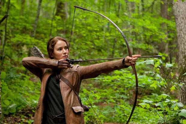 "In this image released by Lionsgate, Jennifer Lawrence portrays Katniss Everdeen in a scene from ""The Hunger Games,"" opening on Friday, March 23, 2012.  (AP Photo/Lionsgate, Murray Close) <strong>Murray Close - AP</strong>"