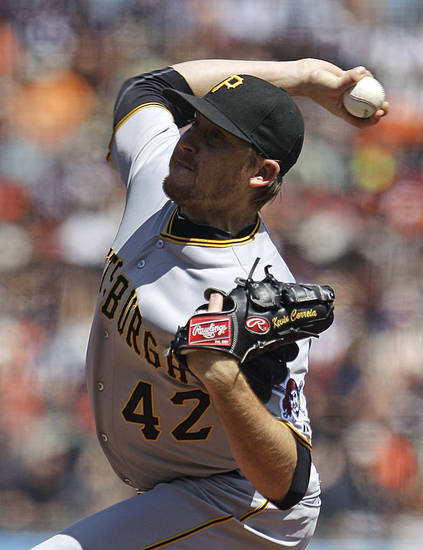 Pittsburgh Pirates' Kevin Correia works against the San Francisco Giants during the first inning of a baseball game Sunday, April 15, 2012, in San Francisco. The Pirates won 4-1. (AP Photo/Ben Margot)