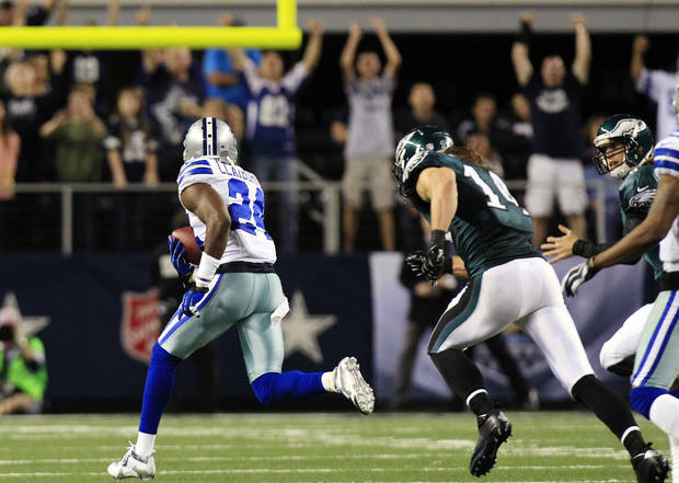 Dallas Cowboys cornerback Morris Claiborne (24) returns a fumble by Philadelphia Eagles running back Bryce Brown for a touchdown during the second half of an NFL football game, Sunday, Dec. 2, 2012, in Arlington, Texas. (AP Photo/LM Otero)