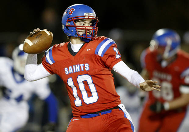 Oklahoma Christian School&#039;s Austin Brooks looks to pass during a high school football playoff game against Stroud in Edmond, Friday, Nov. 23, 2012. Photo by Bryan Terry The Oklahoman