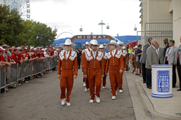 Texas band members make their way to the Red River Rivalry college football game between the University of Oklahoma (OU) and the University of Texas (UT) at the Cotton Bowl in Dallas, Saturday, Oct. 13, 2012. Photo by Bryan Terry, The Oklahoman