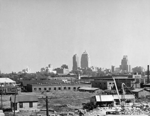 OKLAHOMA CITY / SKY LINE / OKLAHOMA:  No caption.  Photo undated and unpublished.  Photo arrived in library 10/19/1939.