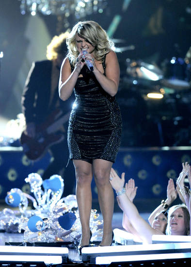 "Miranda Lambert performs ""Mama's Broken Heart"" at the 48th Annual Academy of Country Music Awards at the MGM Grand Garden Arena in Las Vegas on Sunday, April 7, 2013. (Photo by Chris Pizzello/Invision/AP) ORG XMIT: NVPM266"