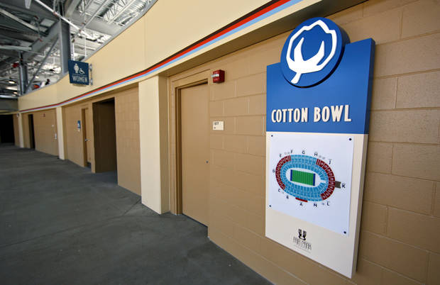 Concourse and logo renovations to the Cotton Bowl on display to the media on Wednesday, Sept 17,  2008, in Dallas, Texas.
