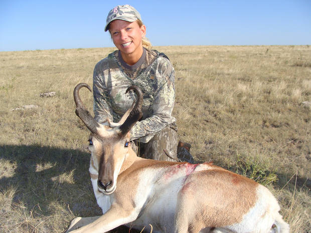 Kelly Free of Edmond with a pronghorn antelope taken in New Mexico