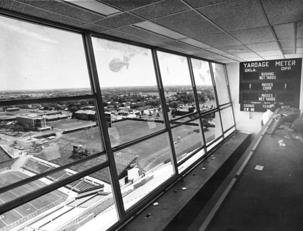 The view looking southeast from the new pressbox in OU's Memorial Stadium as it looked in 1975.  Staff photo by J. Pat Carter.
