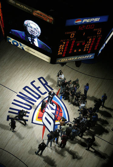 NBA commisioner David Stern addresses the Thunder fans before the first half of the opening night NBA basketball game between the Oklahoma City Thunder and the Milwaukee Bucks on Wednesday, Oct. 29, 2008, at the Ford Center in Oklahoma City, Okla.