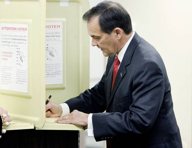 Randy Brogdon votes in the Oklahoma primary election at Faith Lutheran Church in Owasso July 27, 2010. MIKE SIMONS/Tulsa World
