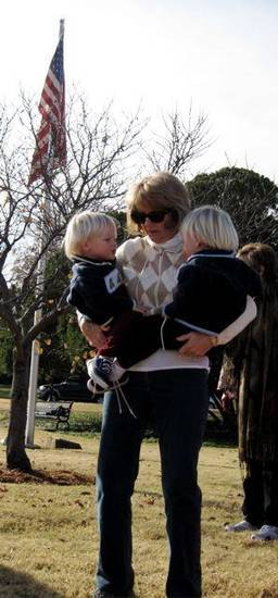 THANKSGIVING AT KITE PARK....Helen Sullivan holds her grandsons,  Harrison and Graham Murphy. (Photo by Helen Ford Wallace)