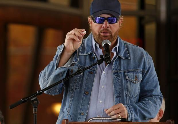 Toby Keith speaks during the grand opening of the Toby Keith Foundation's OK Kids Korral in Oklahoma City, Okla. on Thursday, Nov. 21, 2013. The Toby Keith Foundation was established to help children stricken with cancer. The work has led to the construction of the OK Kids Korral as a home-away-from home in Oklahoma City for pediatric cancer patients. Photo by Chris Landsberger, The Oklahoman
