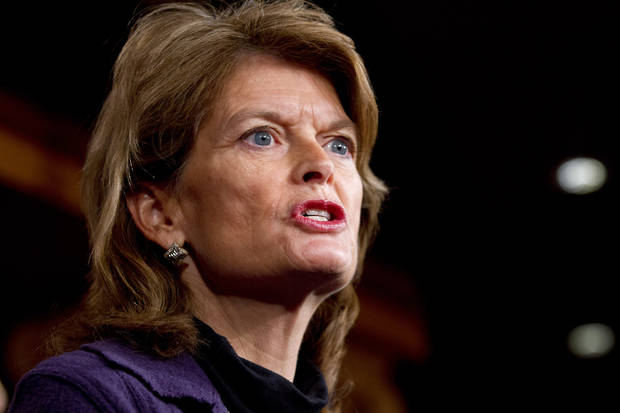 Sen. Lisa Murkowski, R-Alaska, speaks during a news conference about the Keystone XL oil pipeline on Capitol Hill in Washington on Wednesday, Jan. 23, 2013. (AP Photo/Jacquelyn Martin)