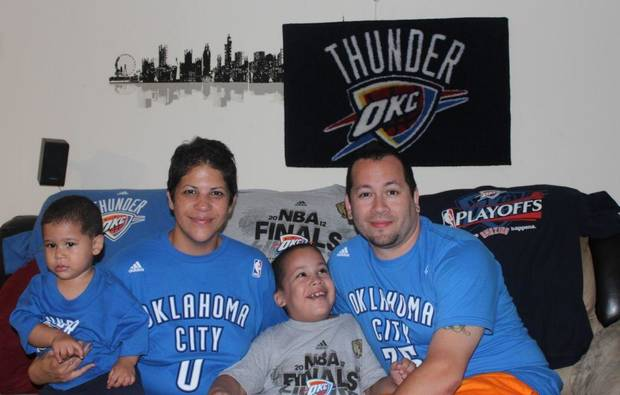 A Thunder family in New York City -- they've been fans since the franchise was in Seattle. (via @jaretgnyc)