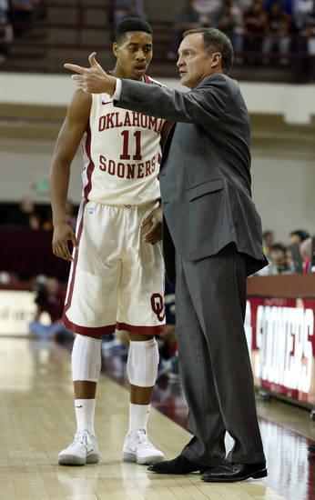 Oklahoma head coach Lon Kruger talks with Isaiah Cousins as the University of Oklahoma (OU) Sooners men's basketball team defeats  the Central Oklahoma Bronchos 94-66 at McCasland Field House on Wednesday, Nov. 7, 2012  in Norman, Okla. Photo by Steve Sisney, The Oklahoman