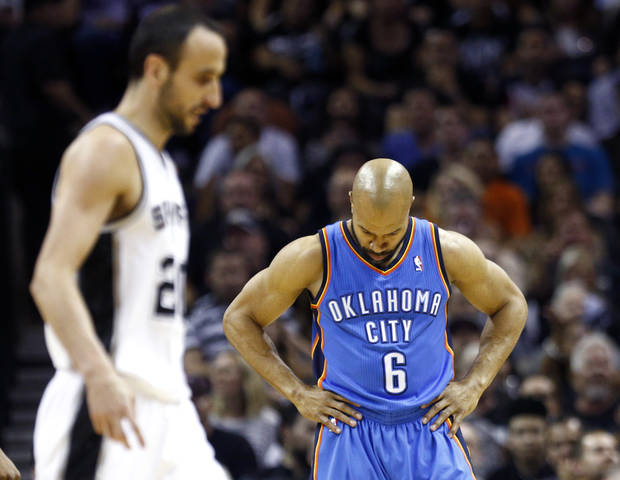 Oklahoma City's Derek Fisher (6) reacts after being called for a foul during Game 2 of the Western Conference Finals in the NBA playoffs between the Oklahoma City Thunder and the San Antonio Spurs at the AT&T Center in San Antonio, Wednesday, May 21, 2014. Photo by Sarah Phipps
