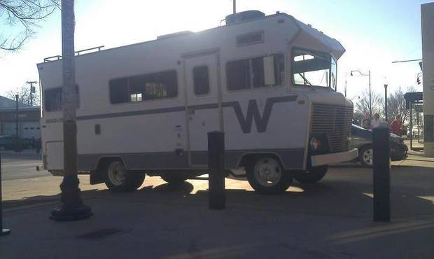 Merry's Winnebago she uses as a pop-up shop. Traveling bras!