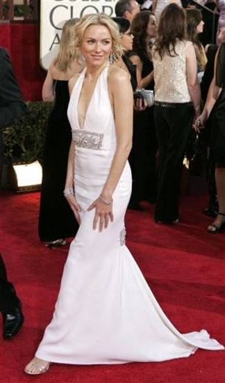 Naomi Watts arrives for the 62nd Annual Golden Globe Awards on Sunday, Jan. 16, 2005, in Beverly Hills, Calif. (AP Photo/Mark J. Terrill)