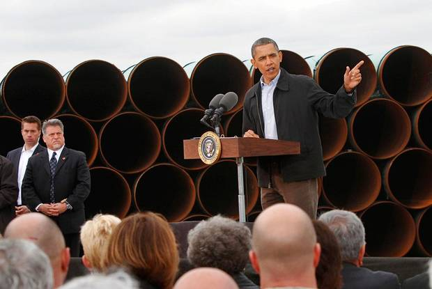 With  large oil pipe stacked as a backdrop, President Barack Obama delivered a speech promoting his administration's energy policies  to a group of about 200 invited guests at a pipe storage  yard just north of Ripley, Thursday morning,  March 22, 2012.   Photo by Jim Beckel, The Oklahoman