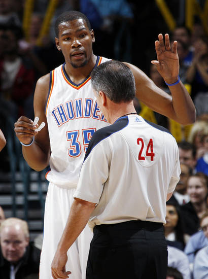 Oklahoma City's Kevin Durant (35) talks with official Mike Callahan in the first half during the NBA basketball game between the Oklahoma City Thunder and Portland Trail Blazers at Chesapeake Energy Arena in Oklahoma City, Tuesday, Jan. 3, 2012. Photo by Nate Billings, The Oklahoman