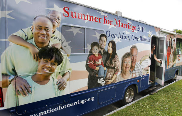 FILE - In this July 14, 2010 file photo, a National Organization for Marriage recreational vehicle gets set to hit the road in Augusta, Maine. The leading national organization opposing same-sex marriage has sought to split the Democratic Party base by pitting African-Americans and Hispanics against gay-rights groups, according to confidential strategy memos made public by court officials in Maine on Monday, March 26, 2012. (AP Photo/Robert F. Bukaty, File)