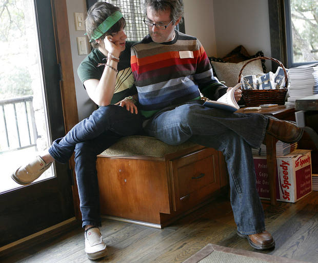Jim Chastain spends time with his son Ford, age 14, during the Blue Rock Review Book Release at a home near Austin, Tx., on Saturday, Nov. 29, 2008.  By John Clanton, The Oklahoman