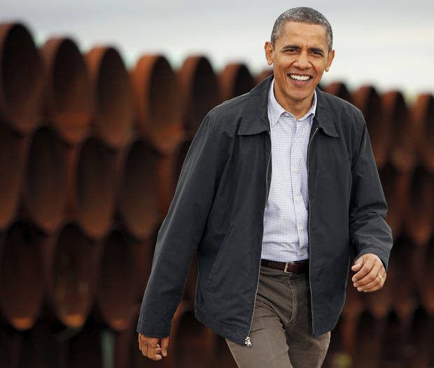 President Barack Obama arrives at the TransCanada Pipe Yard near Cushing, Okla., Thursday, March 22, 2012. Photo by Nate Billings, The Oklahoman