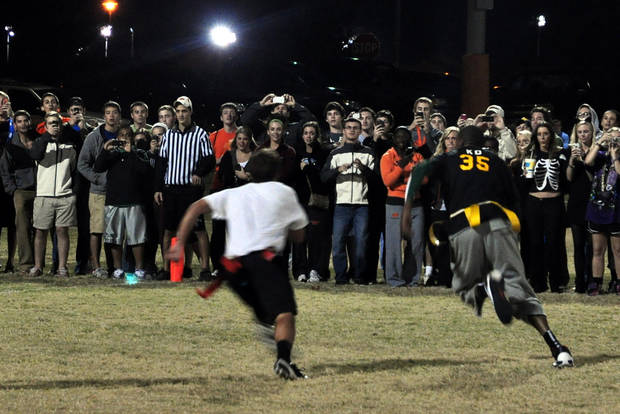 Kevin Durant plays in an intramural flag football game with Sigma Nu fraternity at Oklahoma State University, Oct. 31, 2011. Photo submitted by S. Burner.