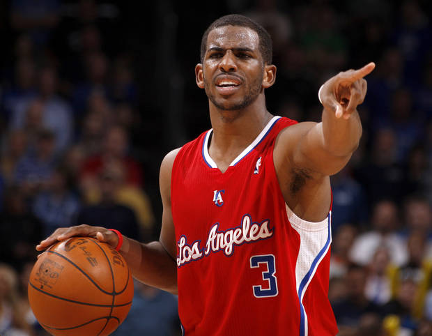 Los Angeles' Chris Paul calls out a play during the NBA basketball game between the Oklahoma City Thunder and the Los Angeles Clippers at Chesapeake Energy Arena in Oklahoma City, Wednesday, April 11, 2012. Photo by Bryan Terry, The Oklahoman