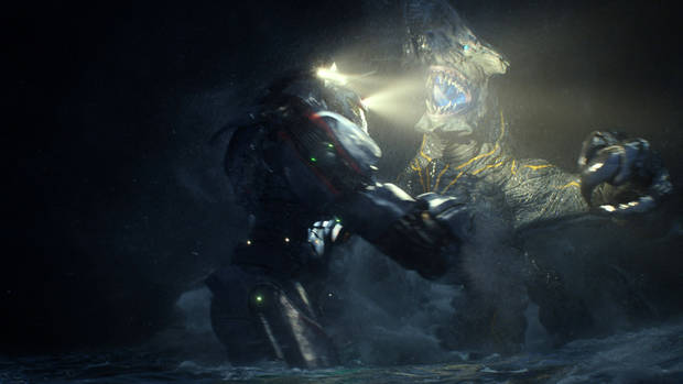 "This film publicity image released by Warner Bros. Pictures shows the Gipsy Danger robot battling the Knifehead monster in a scene from ""Pacific Rim."" ""Pacific Rim"" fulfills a very basic boyhood fantasy: big ol' robots and giant monsters slugging it out. The concept to Guillermo del Toro's ""Godzilla""-sized film is about as simple as it gets, but actually constructing such mammoth creations is a far more arduous undertaking.  (AP Photo/Warner Bros. Pictures) ORG XMIT: NYET525"
