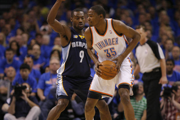 during game 7 of the NBA basketball Western Conference semifinals between the Memphis Grizzlies and the Oklahoma City Thunder at the OKC Arena in Oklahoma City, Sunday, May 15, 2011. Photo by Sarah Phipps, The Oklahoman