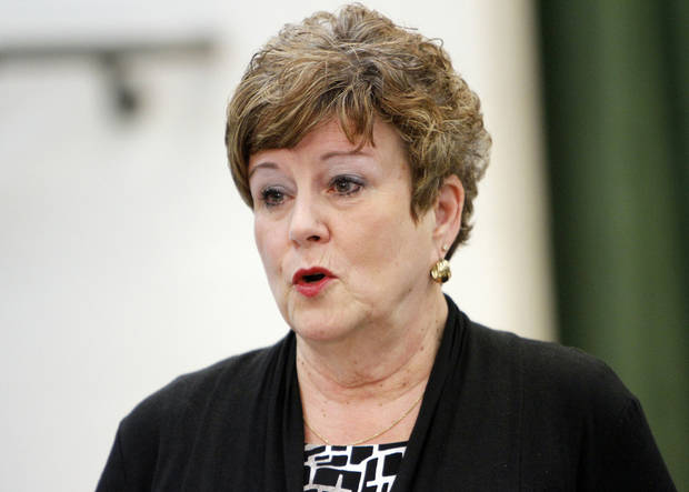 Susan Pierce, superintendent of Moore Public Schools, speaks to reporters during a press conference on Monday. Photo by KT King, The Oklahoman <strong>KT King - The Oklahoman</strong>