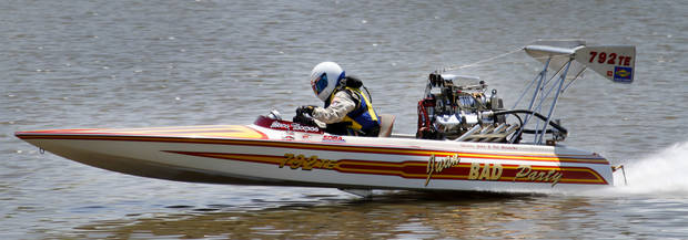 Steve Thomas takes a test run during the Oklahoma City Nationals professional drag boat racing on the Oklahoma River in Oklahoma City, Thursday, June 8, 2012. Photo By Steve Gooch, The Oklahoman