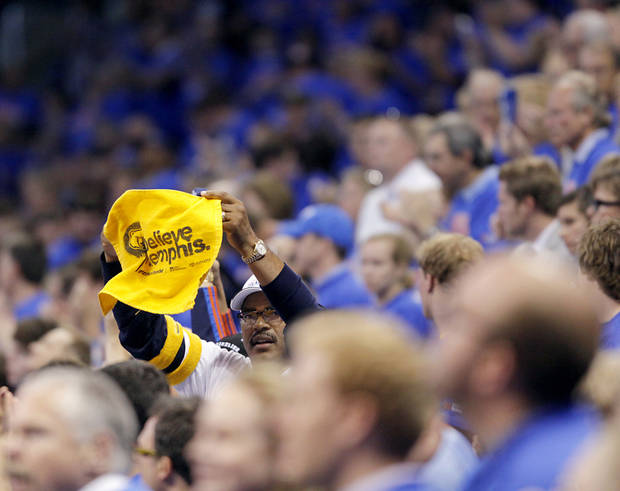 Grizzlies fan Stanley Blue holds up a &quot;Believe Memphis&quot; towel during the first half of game 7 of the NBA basketball Western Conference semifinals between the Memphis Grizzlies and the Oklahoma City Thunder at the OKC Arena in Oklahoma City, Sunday, May 15, 2011. Photo by John Clanton, The Oklahoman
