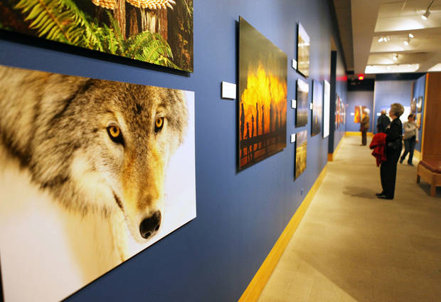 Visitors to the National Cowboy & Western Heritage Museum look at the �National Geographic�s Greatest Photographs of the American West,� collection of Western images. Photos by PAUL HELLSTERN, the Oklahoman