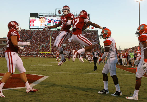 CELEBRATION: Oklahoma's Sterling Shepard (3) celebrates with Oklahoma's Trey Metoyer (17) after a touchdown reception by Metoyer during the college football game between the University of Oklahoma Sooners (OU) and Florida A&M Rattlers at Gaylord Family-Oklahoma Memorial Stadium in Norman, Okla., Saturday, Sept. 8, 2012. Photo by Bryan Terry, The Oklahoman
