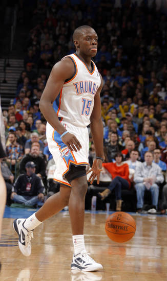 Oklahoma City Thunder's Reggie Jackson (15) dribbles up court during the the NBA basketball game between the Oklahoma City Thunder and the San Antonio Spurs at the Chesapeake Energy Arena in Oklahoma City, Sunday, Jan. 8, 2012. Photo by Sarah Phipps, The Oklahoman